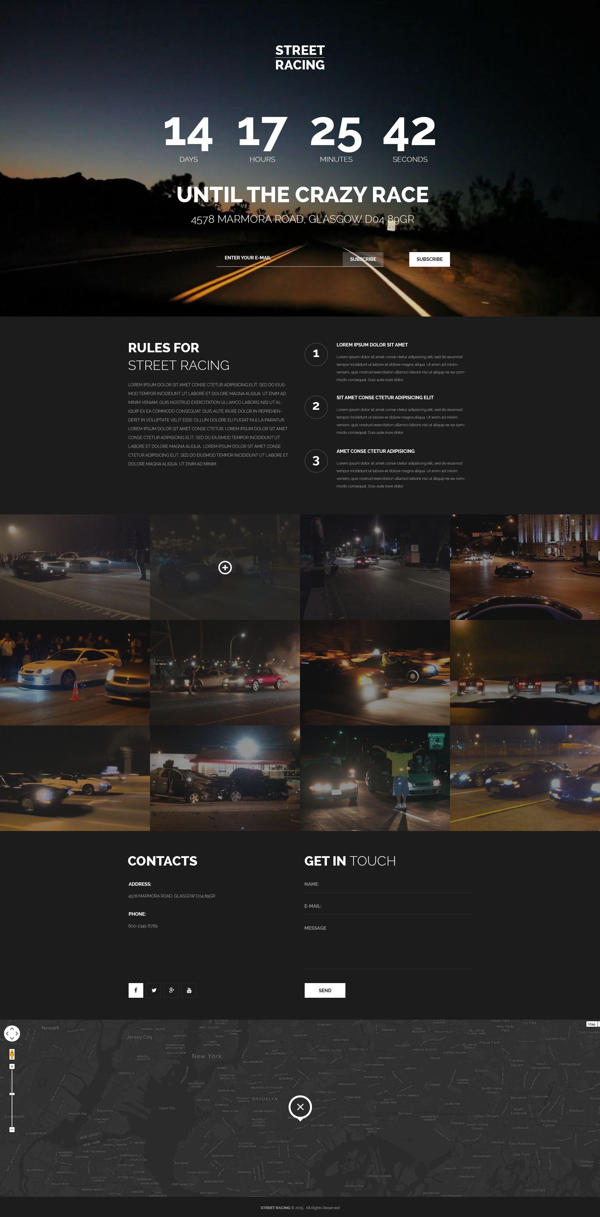 Car Racing Responsive Landing Page Template