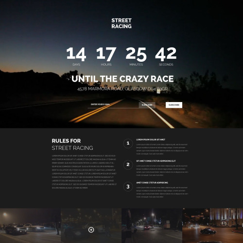 Street Racing - Responsive Landing Page Template