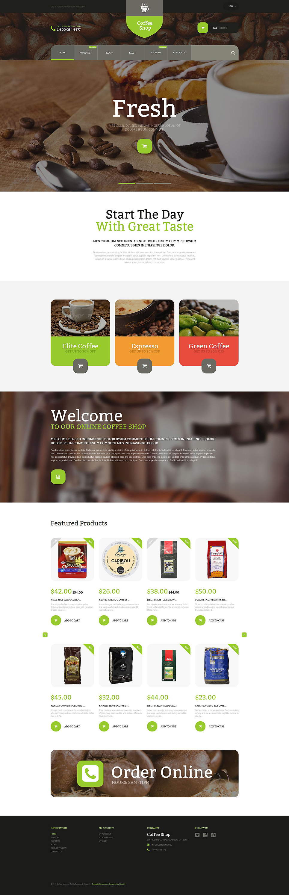 Coffee shop shopify theme for Free shopify templates