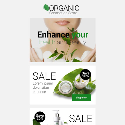 Organic Cosmetics Store - Responsive Newsletter Template