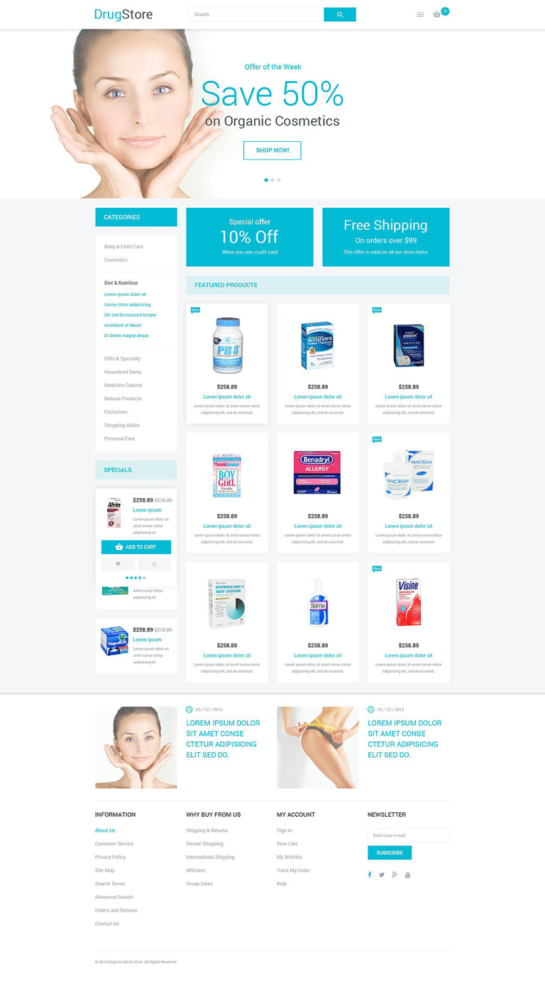 Drugstore Magento Theme New Screenshots BIG