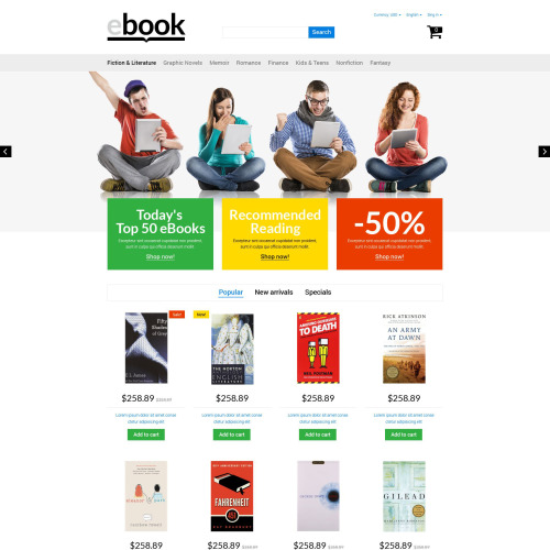 Ebook - PrestaShop Template based on Bootstrap