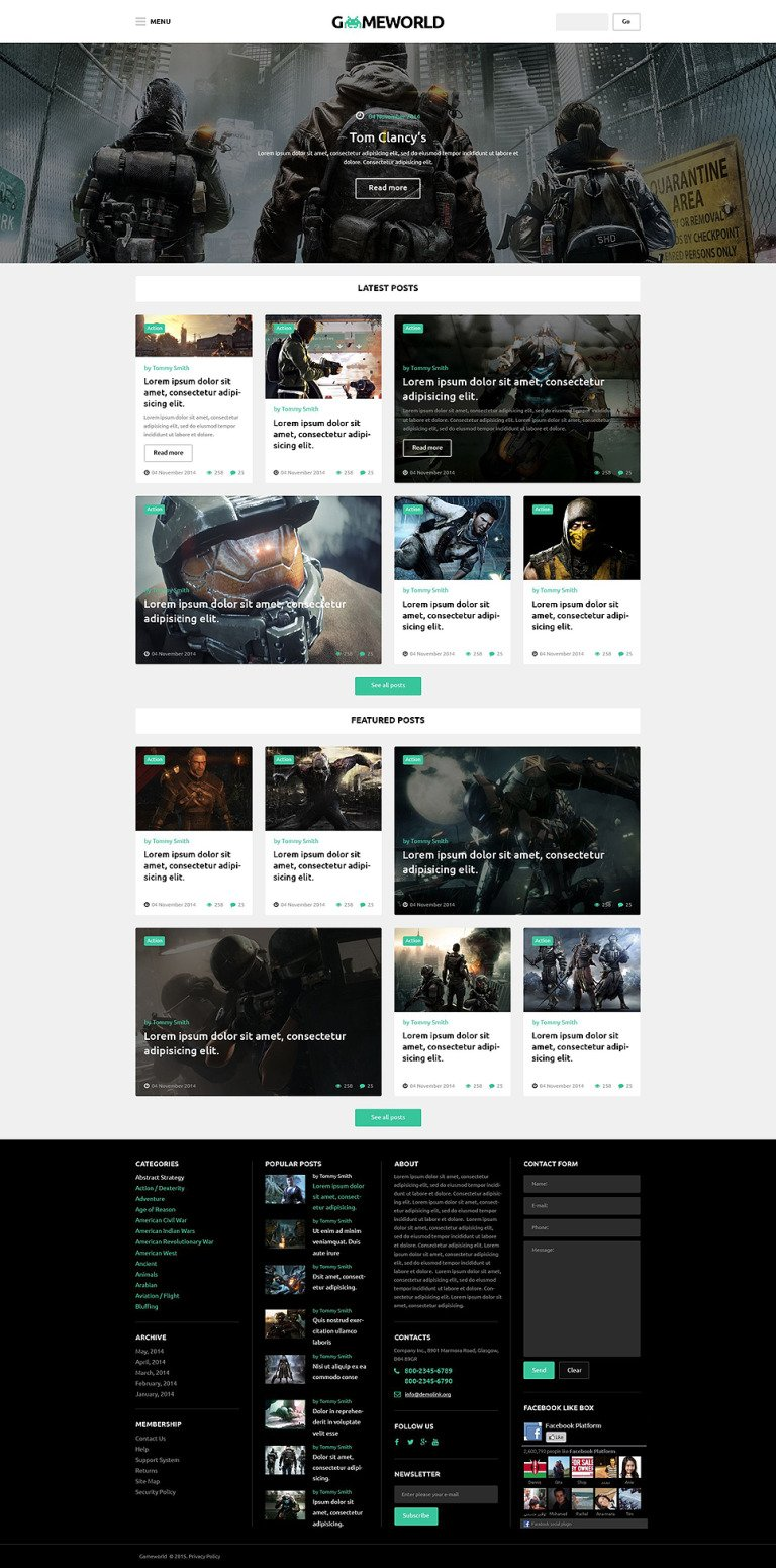 Gameworld WordPress Theme New Screenshots BIG