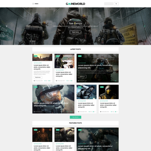 Gameworld - WordPress Template based on Bootstrap