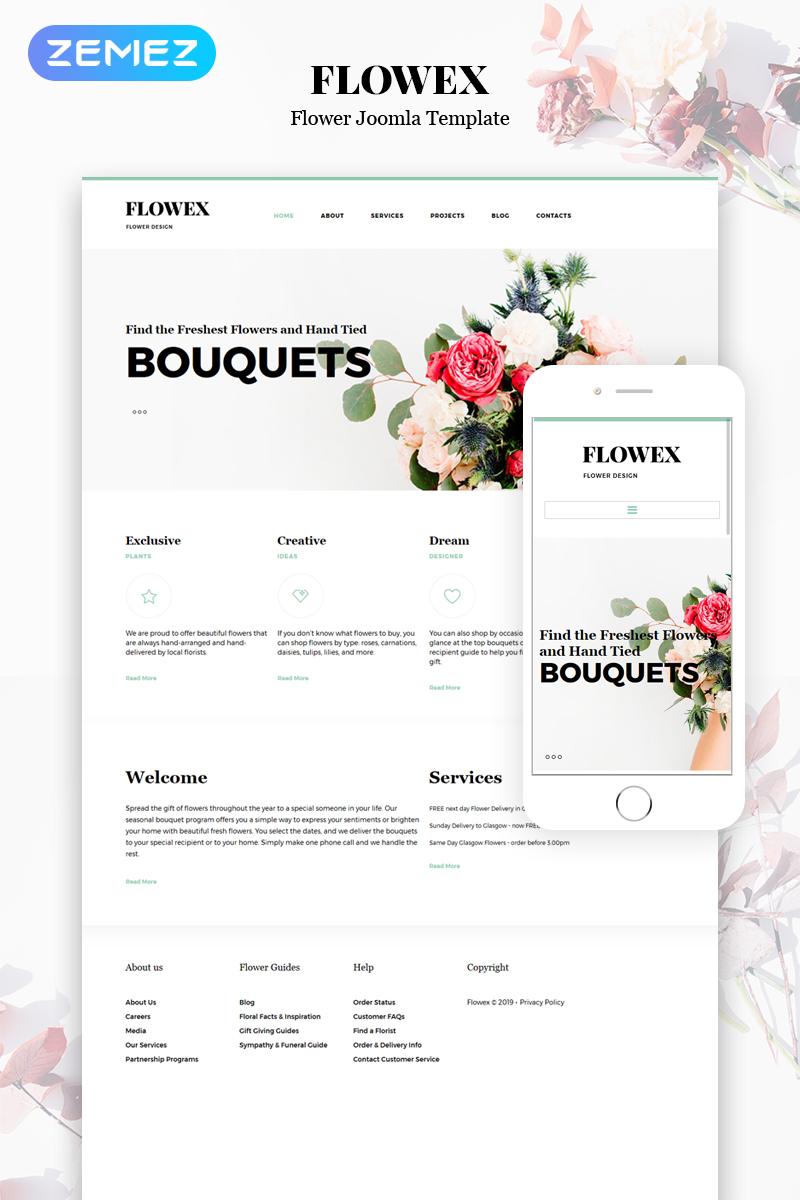 """Joomla Vorlage namens """"Flowex - Flower Shop Ready-to-Use Clean"""" #53916"""