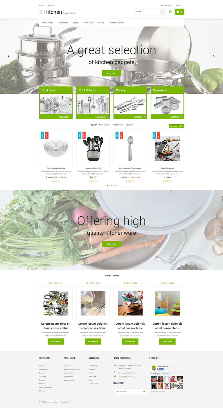 Kitchen Supplies Store PrestaShop Theme New Screenshots BIG