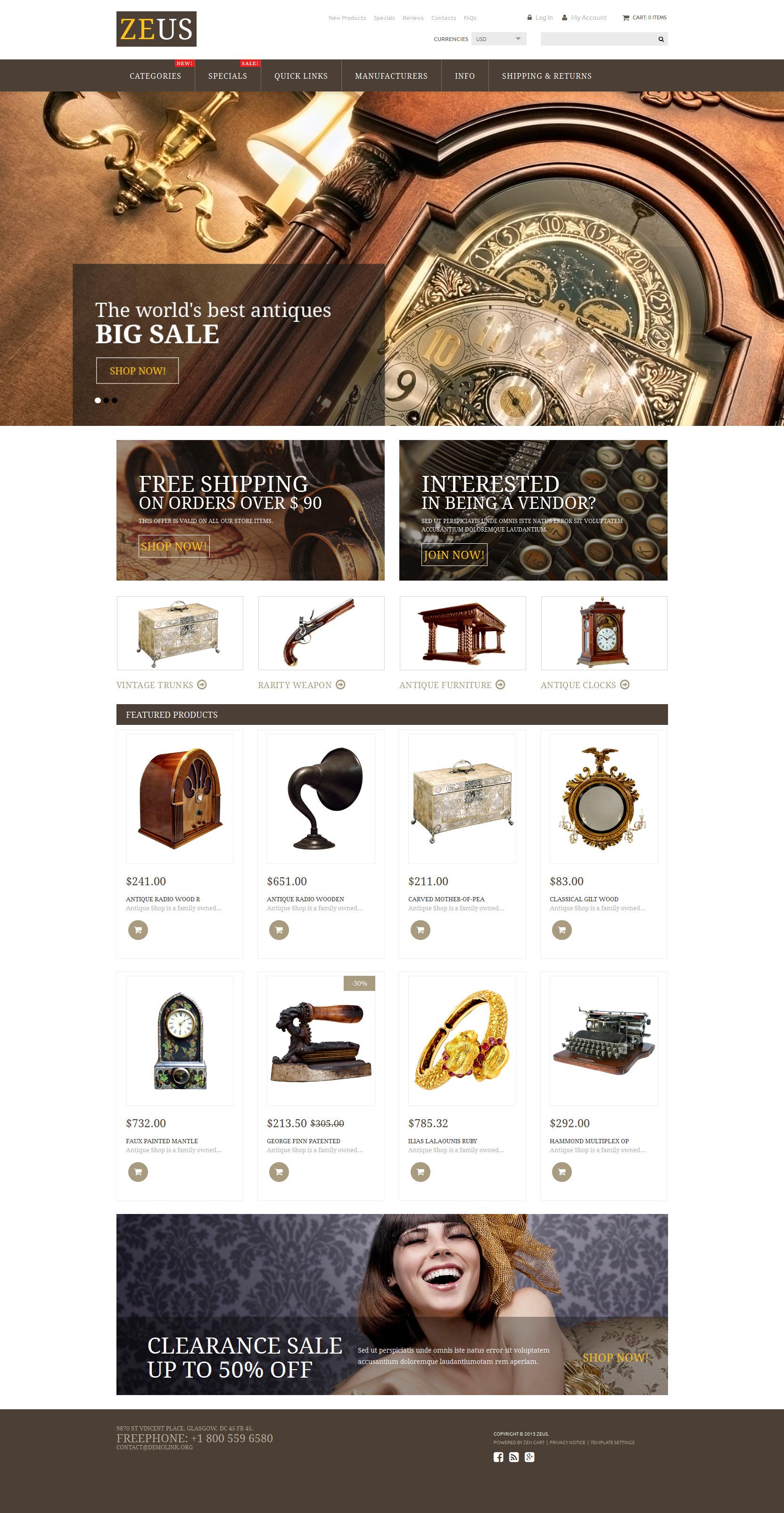 """""""Magasin des antiquités"""" thème Zen Cart adaptatif #53946"""