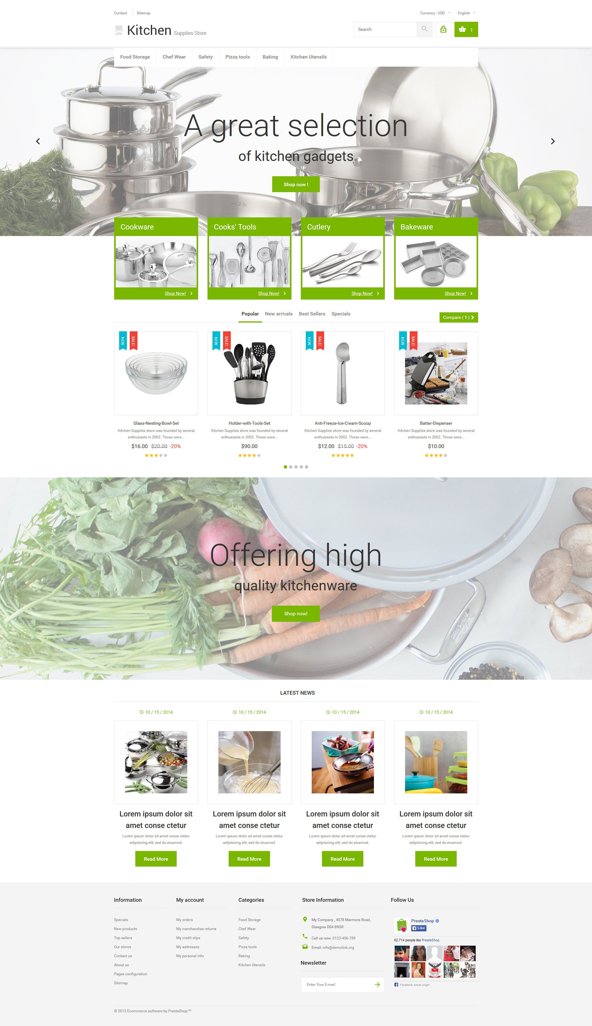 Th me prestashop adaptatif 53963 pour magasin d 39 articles for Fourniture de cuisine