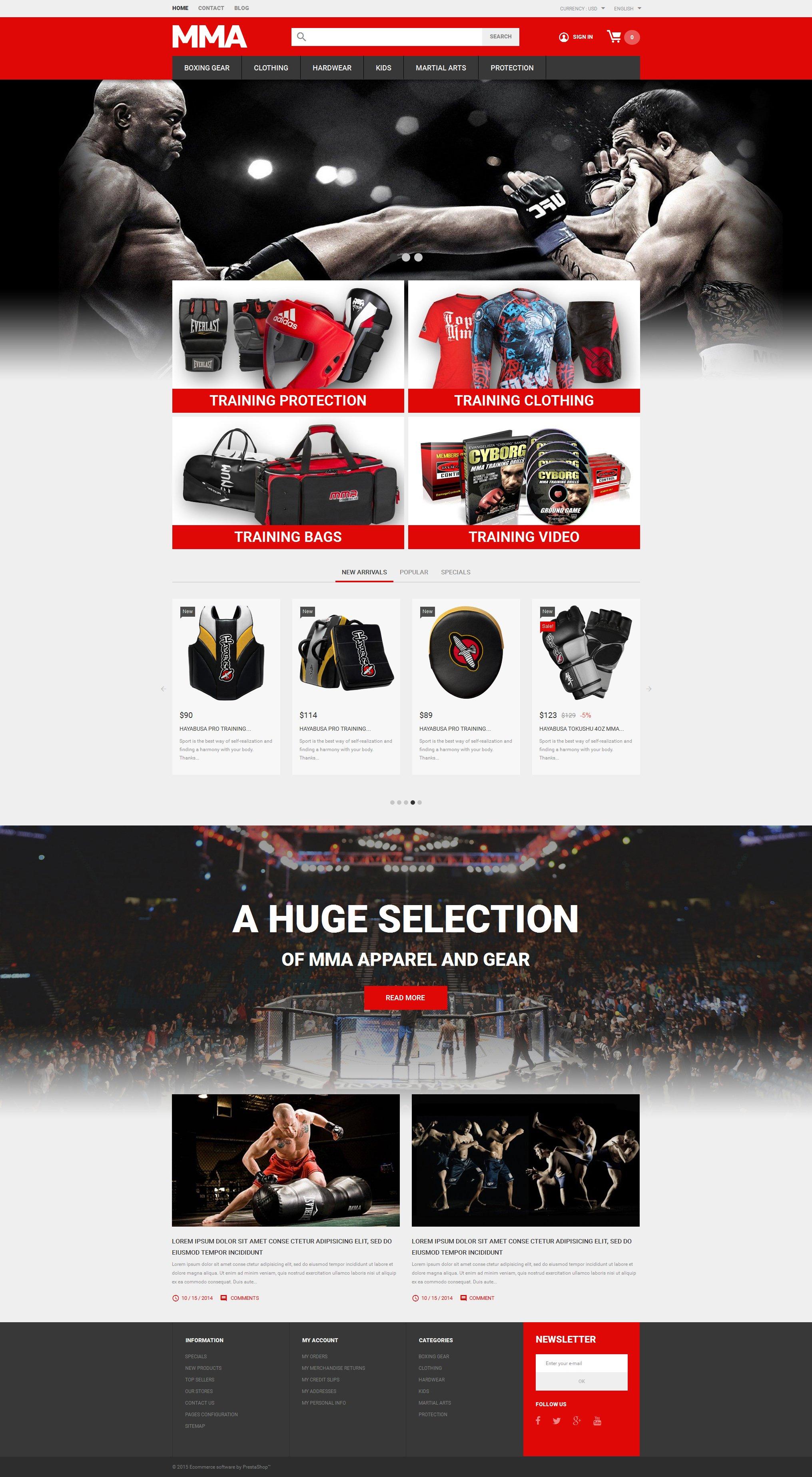 MMA Outfit Store PrestaShop Theme