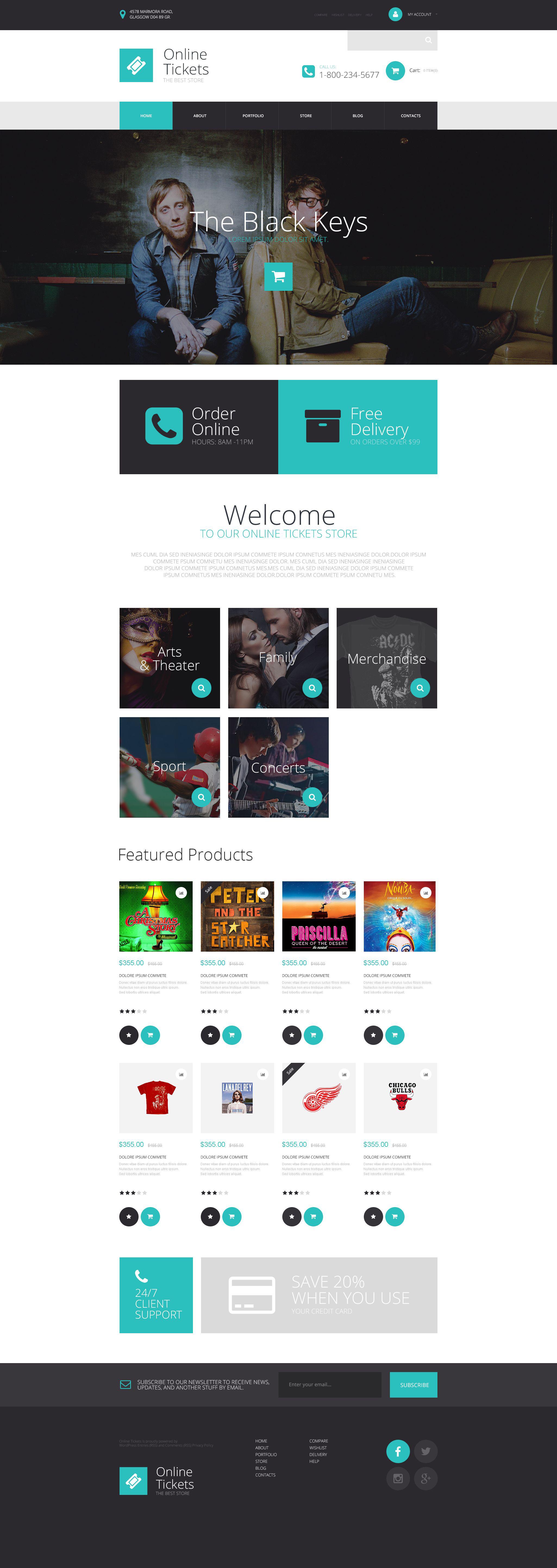 """Online Tickets Store"" - адаптивний WooCommerce шаблон №53950"