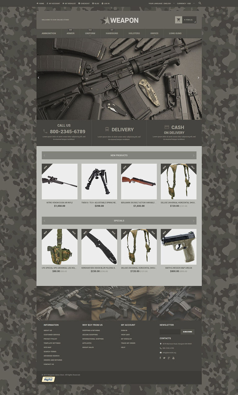 Online Weapon Store Magento Theme New Screenshots BIG