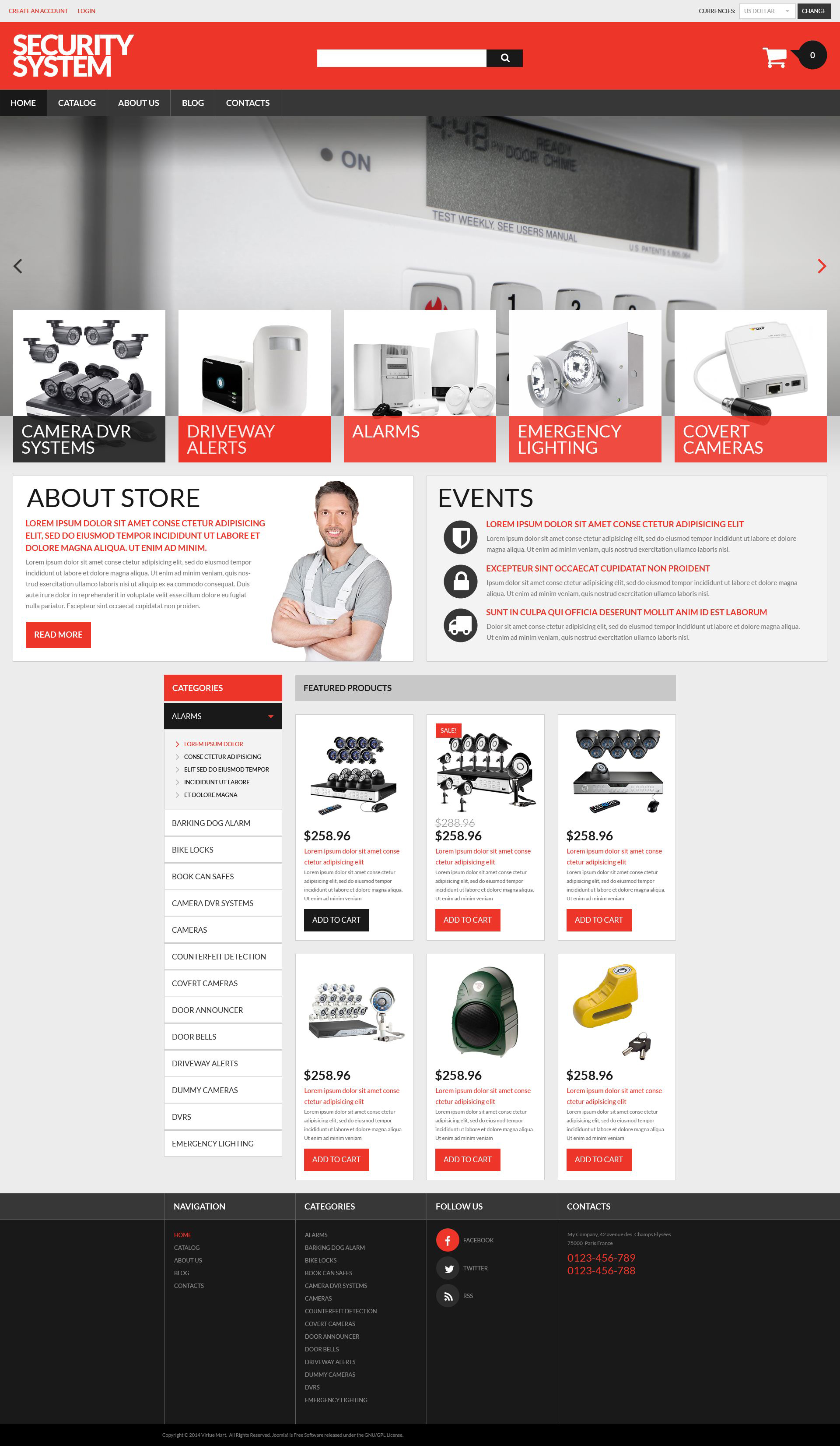 """Plantilla VirtueMart """"Security Products Store"""" #53981"""