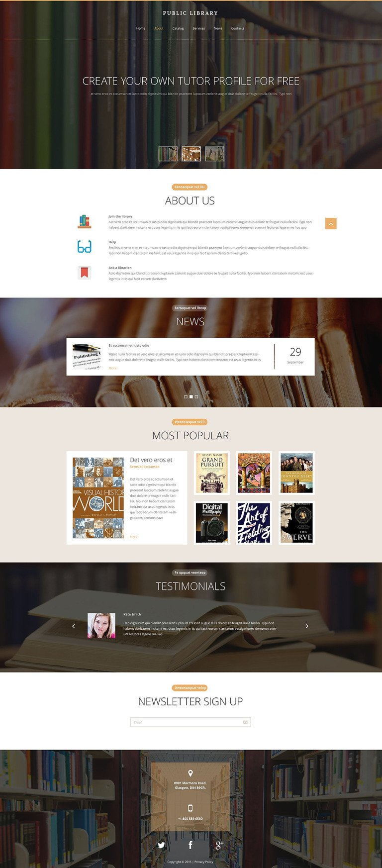 Public Library Website Template New Screenshots BIG