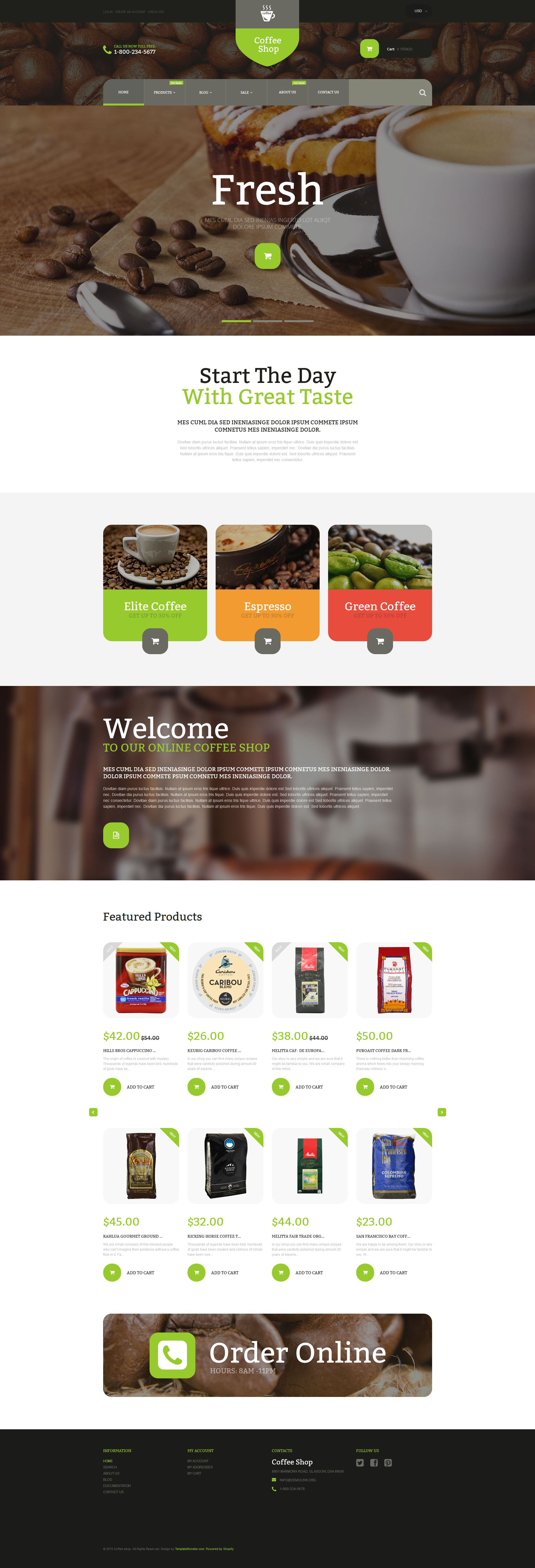 Responsive Coffee Store Shopify #53921