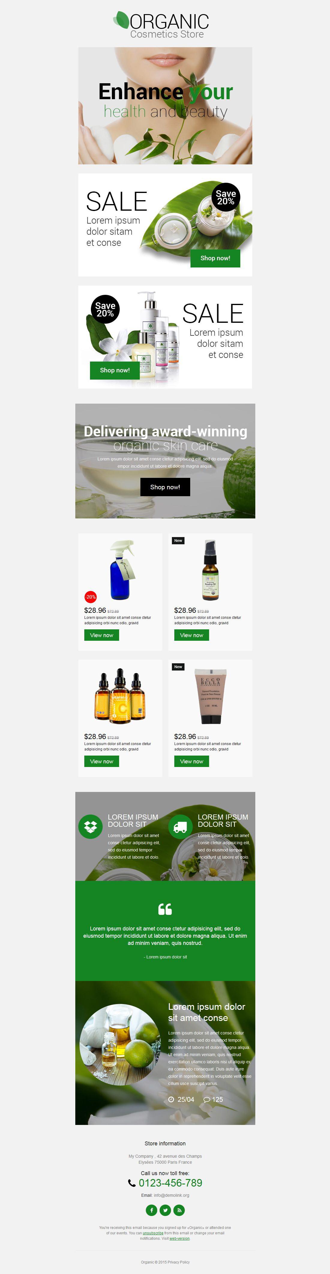 Responsive Newsletter Vorlage für Kosmetik-Geschäft #53906