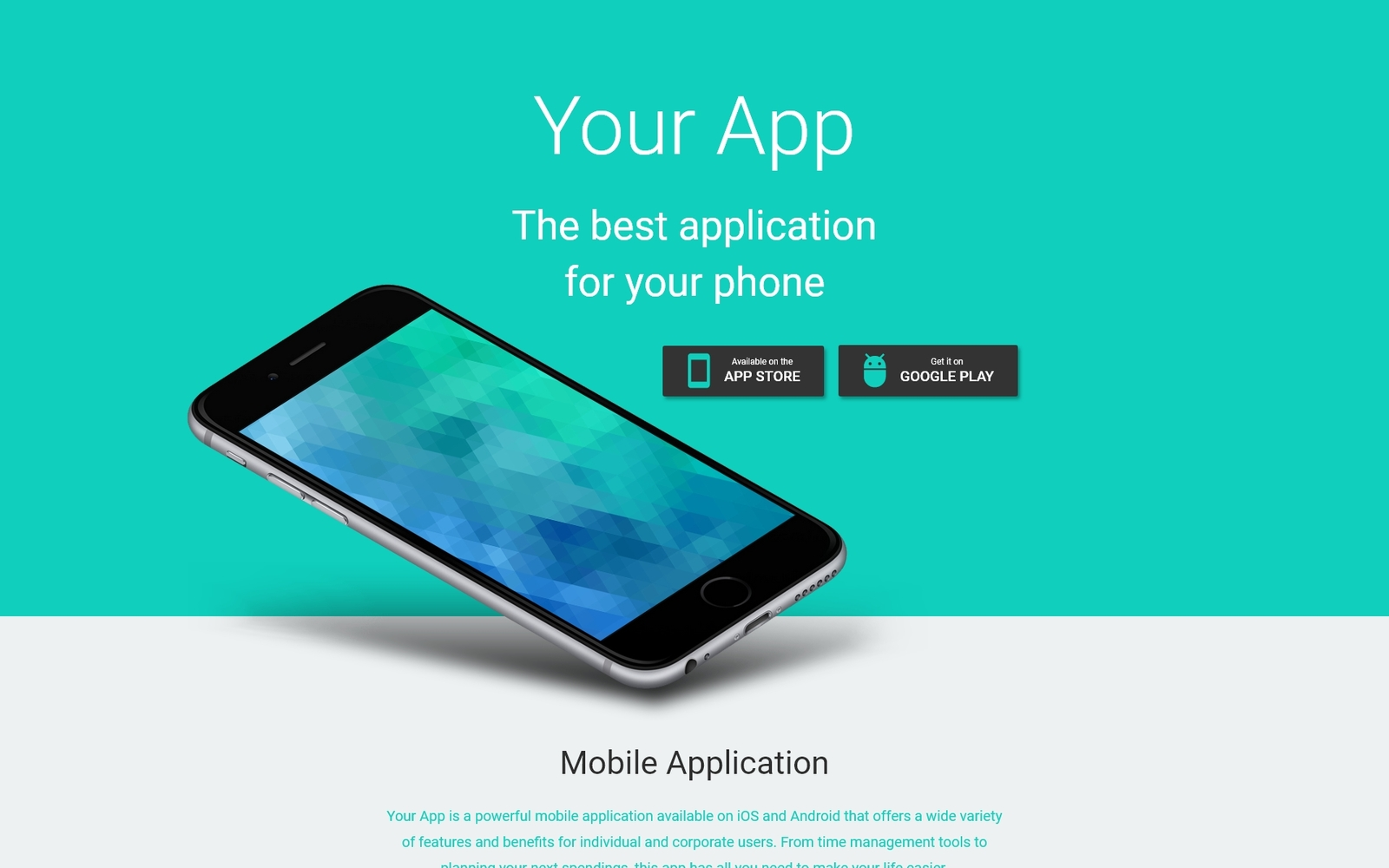 Responsive Your App - Software Minimal HTML Açılış Sayfası #53973