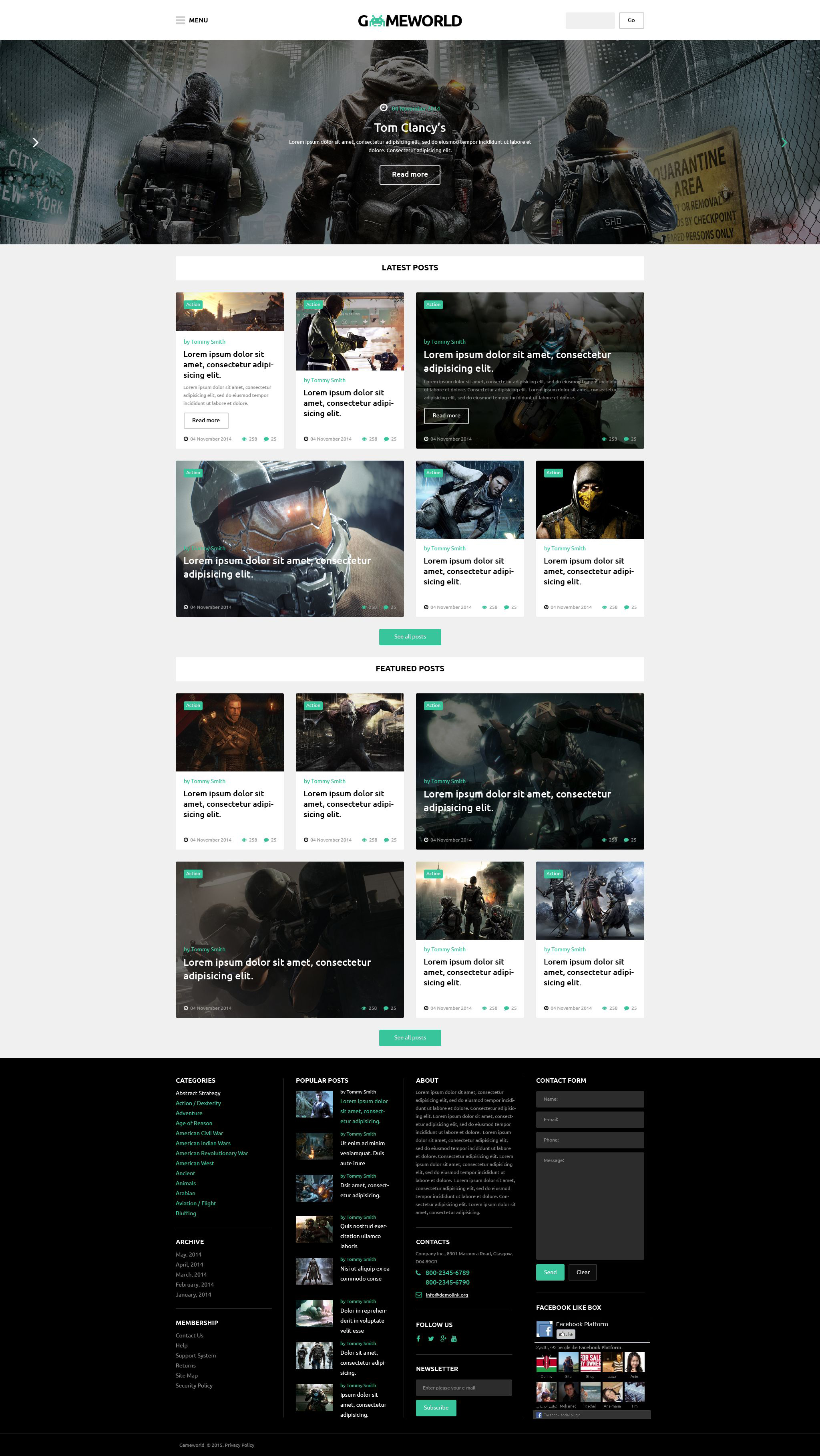 Responsivt Gameworld WordPress-tema #53931
