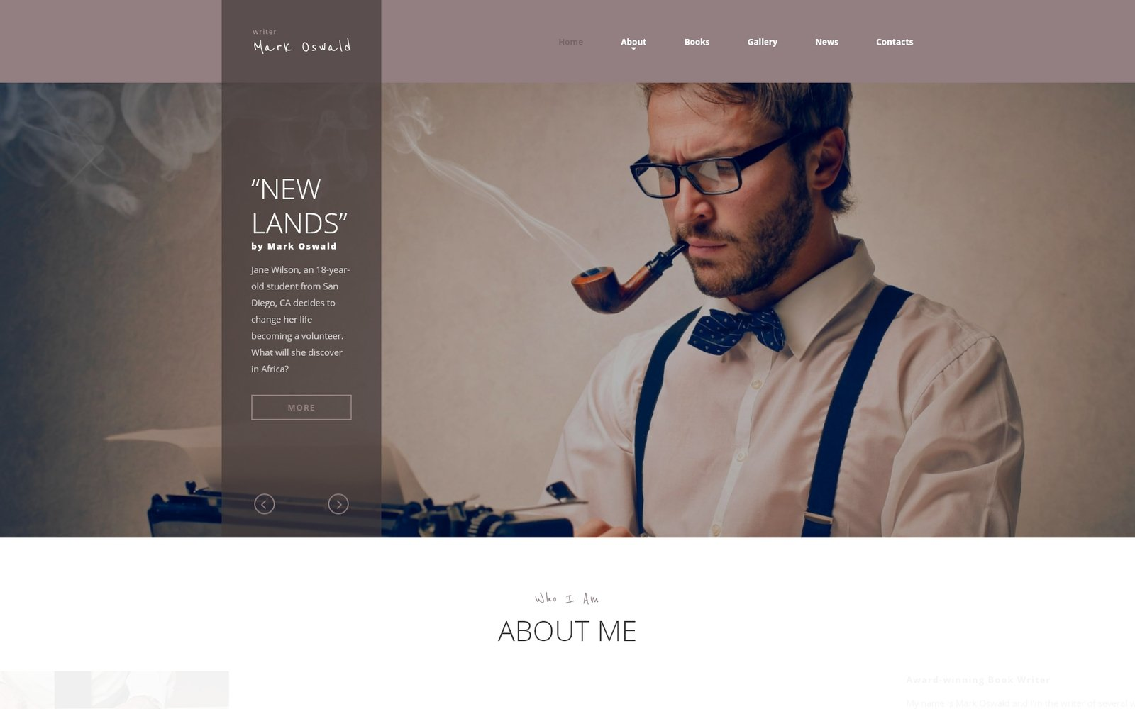 Responsivt Mark Oswald - Writer Responsive Minimal HTML5 Hemsidemall #53926