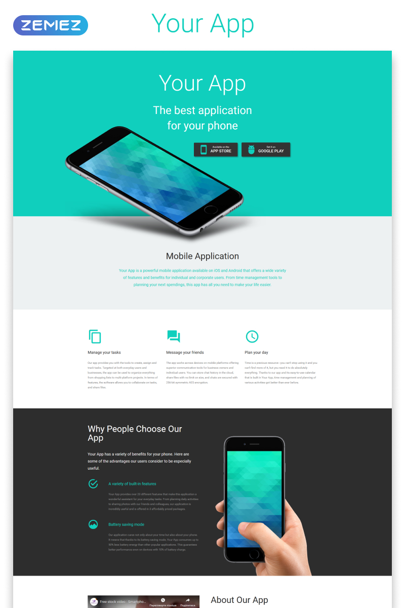 Responsivt Your App - Software Minimal HTML Landing Page-mall #53973