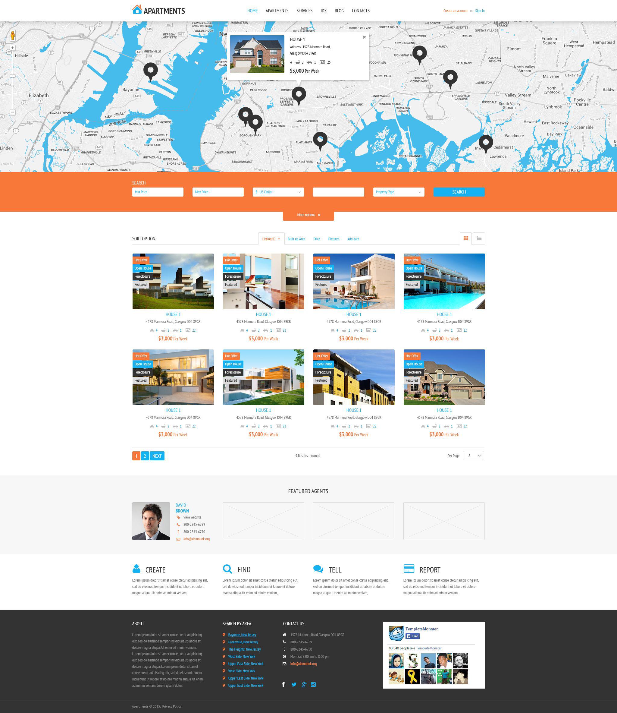 Reszponzív Apartments Rent Agency WordPress sablon 53995 - képernyőkép