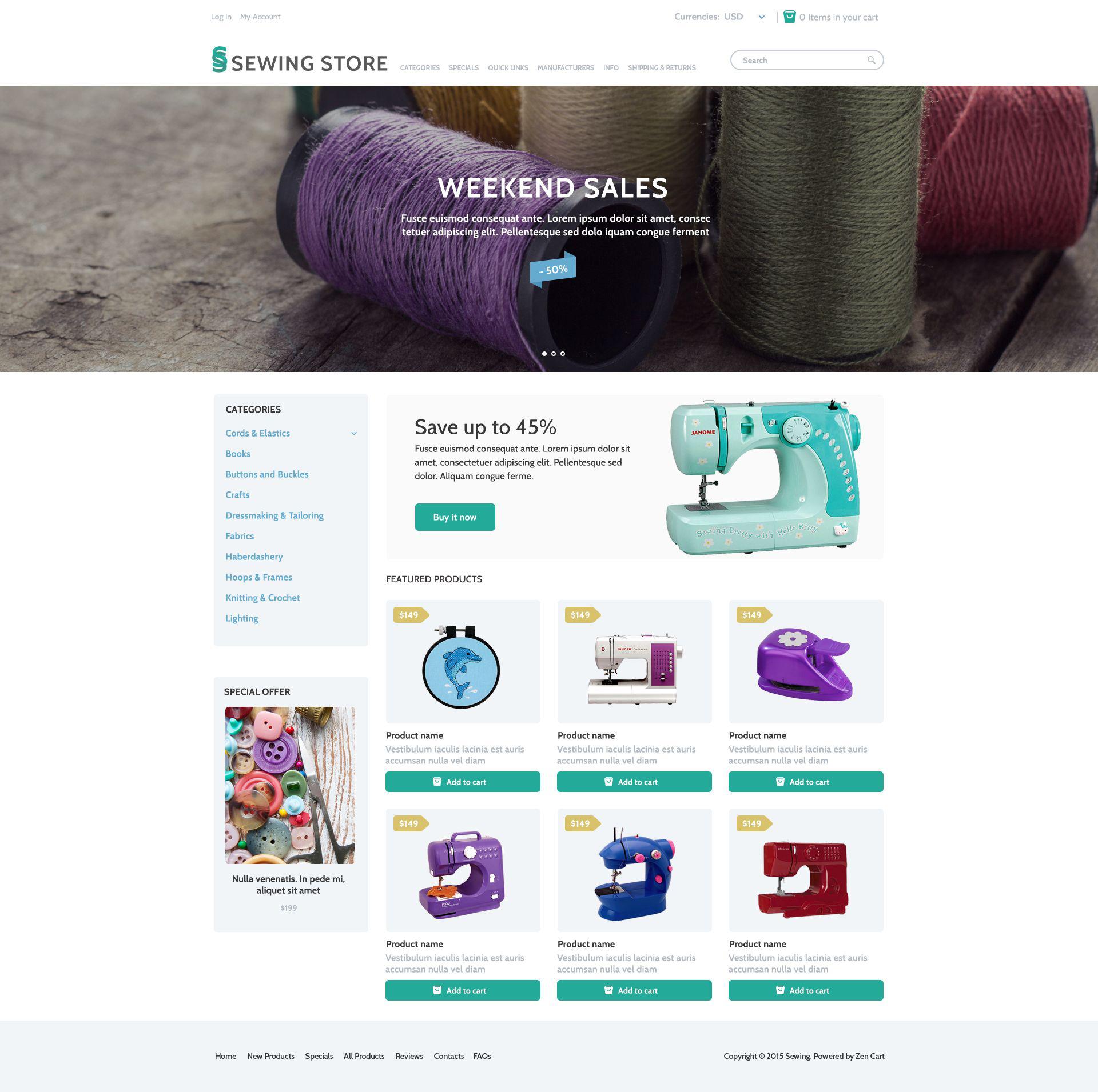 Reszponzív Sewing Marketplace ZenCart sablon 53970