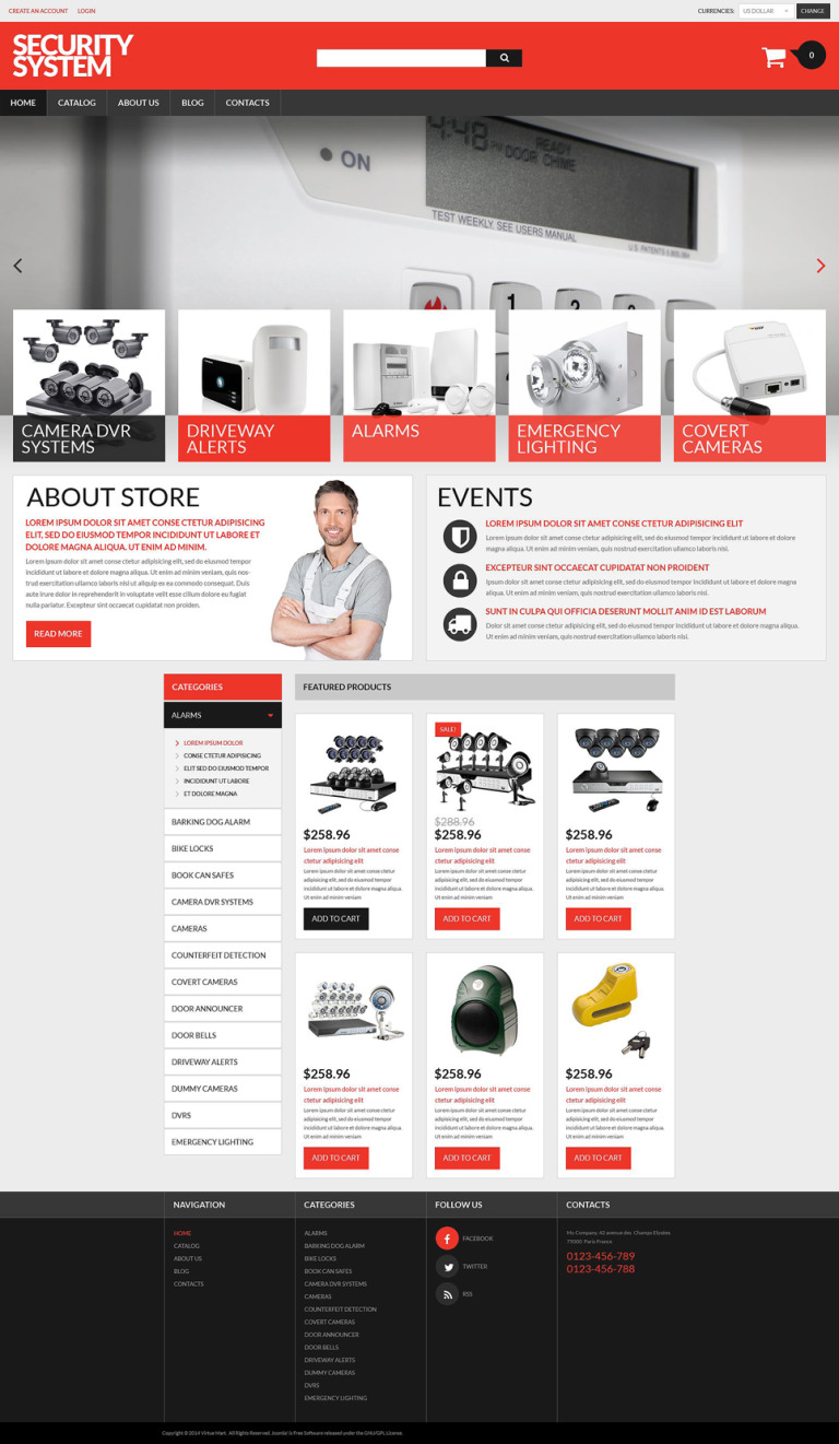 Security Products Store VirtueMart Template New Screenshots BIG