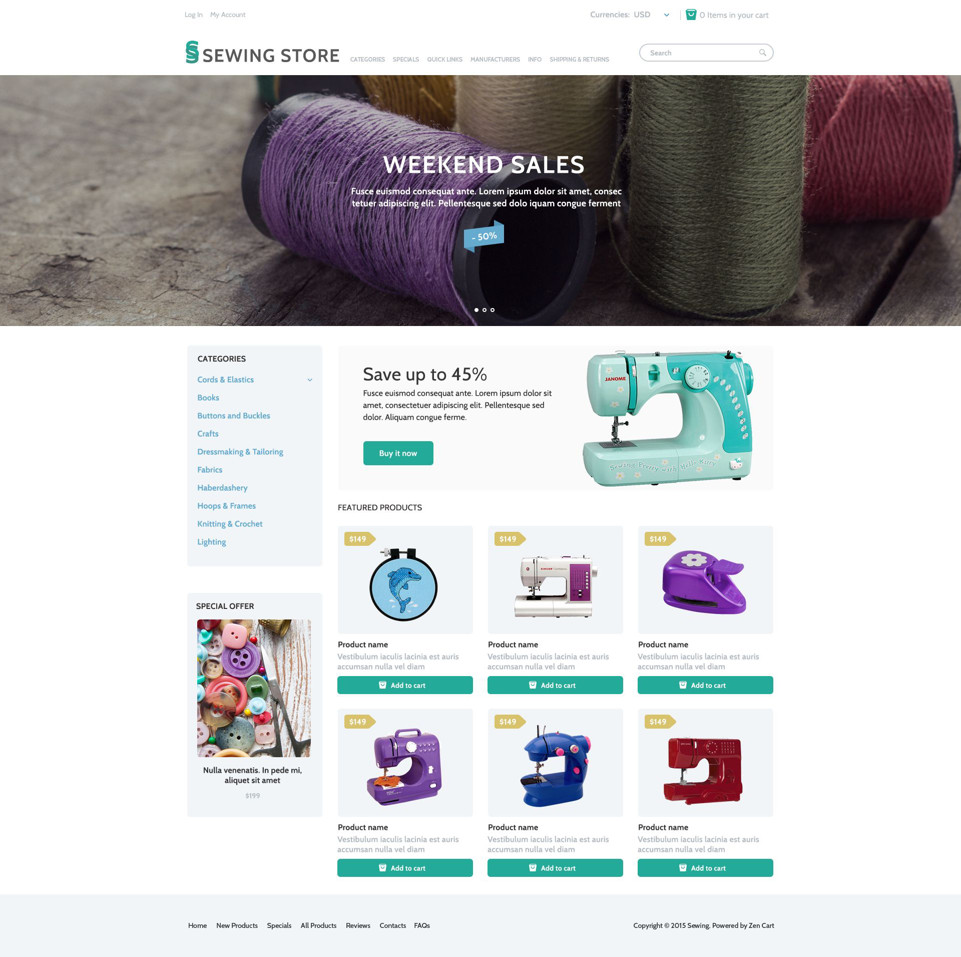 """Sewing Marketplace"" - адаптивний ZenCart шаблон №53970"