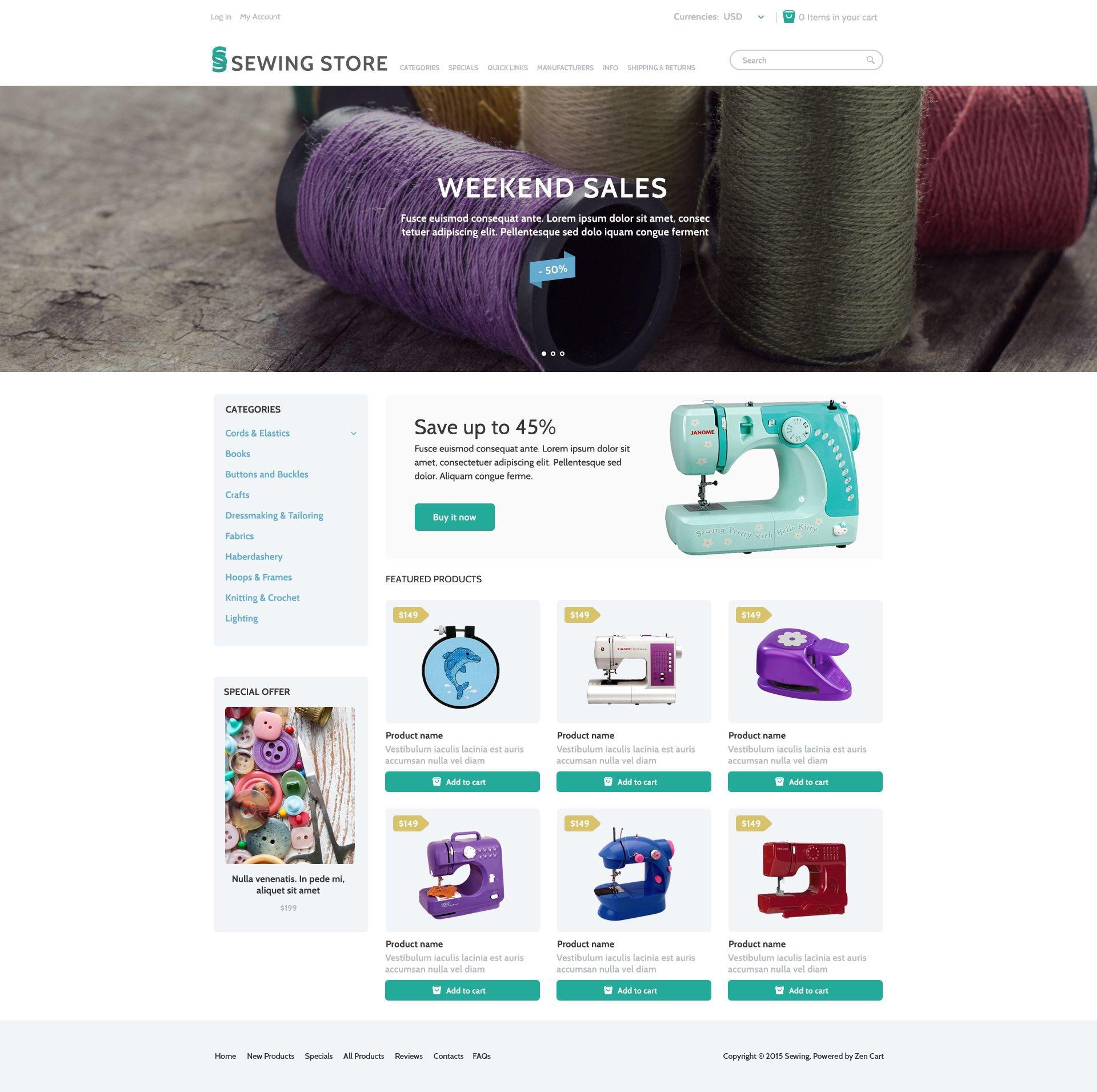 """Sewing Marketplace"" Responsive ZenCart template №53970"