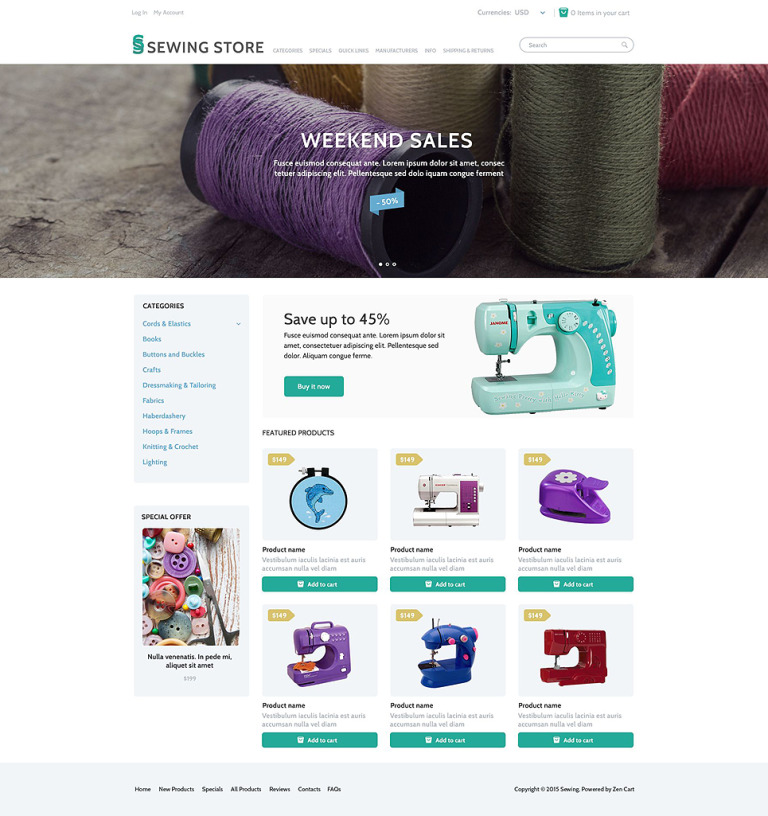 Sewing Marketplace ZenCart Template New Screenshots BIG