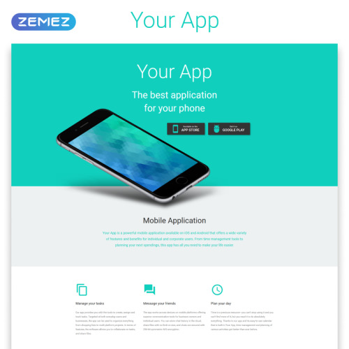 Your App - Responsive Landing Page Template