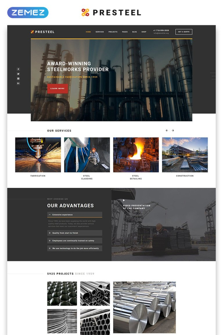 Steel Processing Website Template New Screenshots BIG