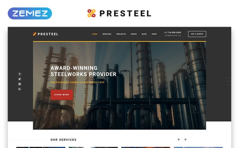 Steel Processing Website Template