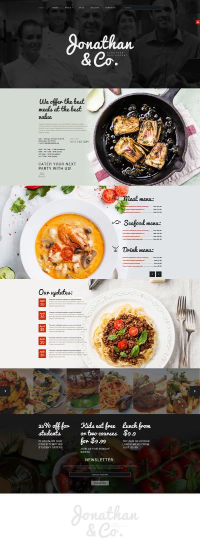 European Restaurant Responsive Tema Joomla