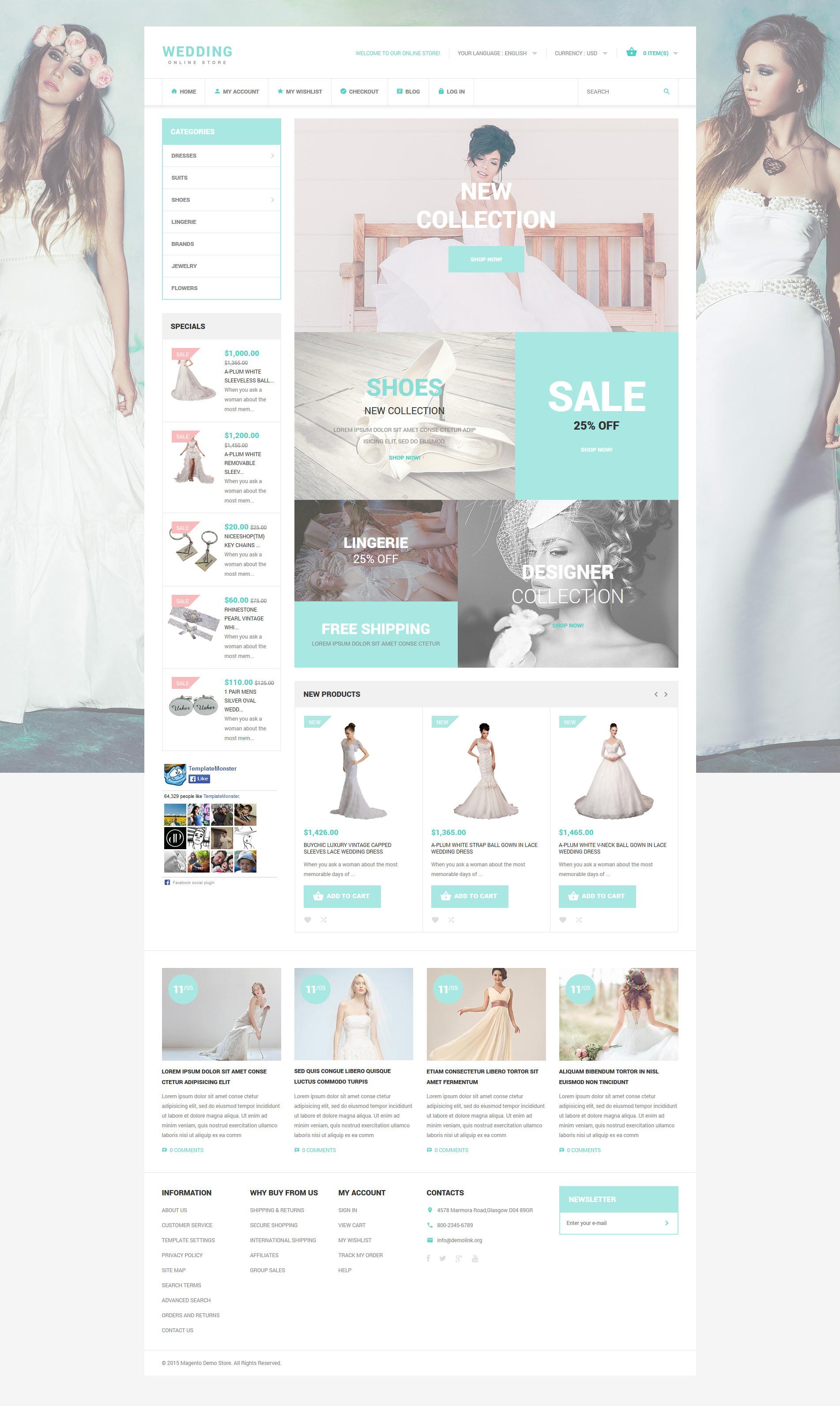 "Tema Magento ""Wedding Style"" #53962"