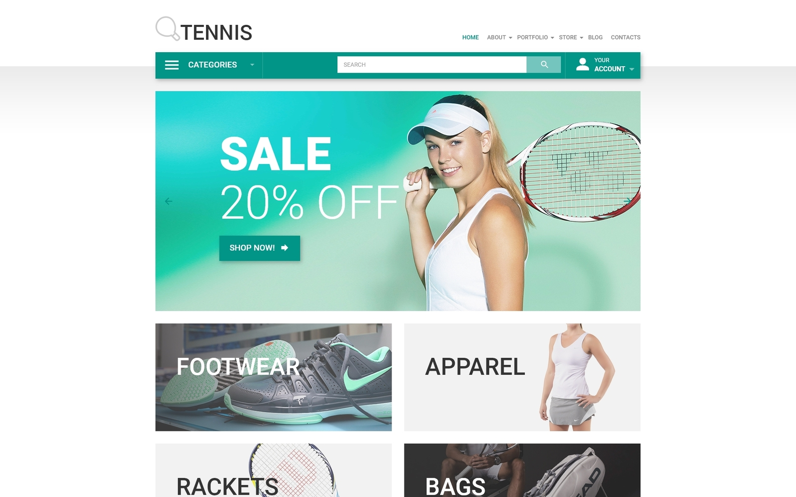 "Tema WooCommerce ""Tennis"" #53951"