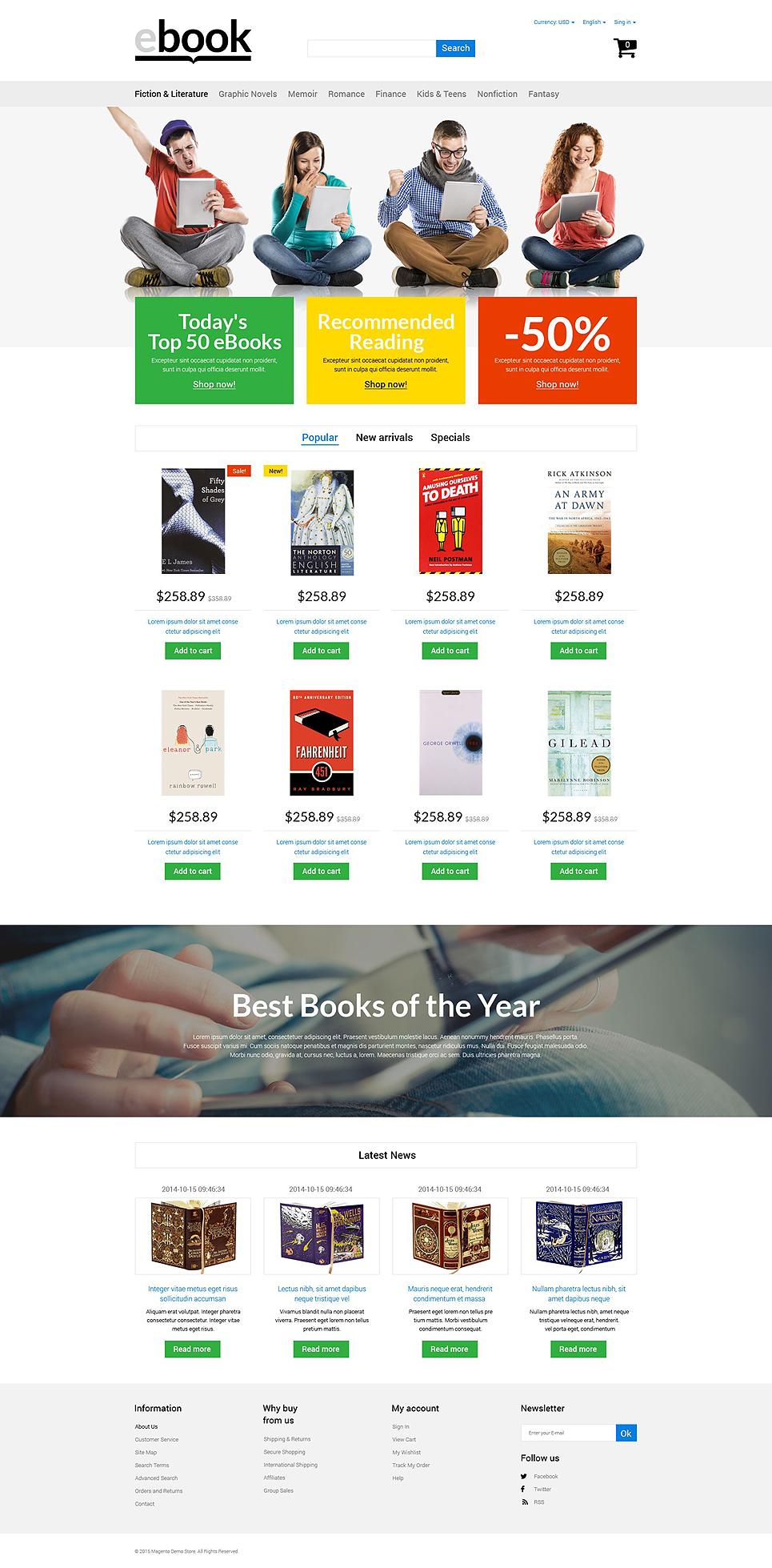 Tema prestashop 53956 per un sito di libri for Sito per acquistare libri