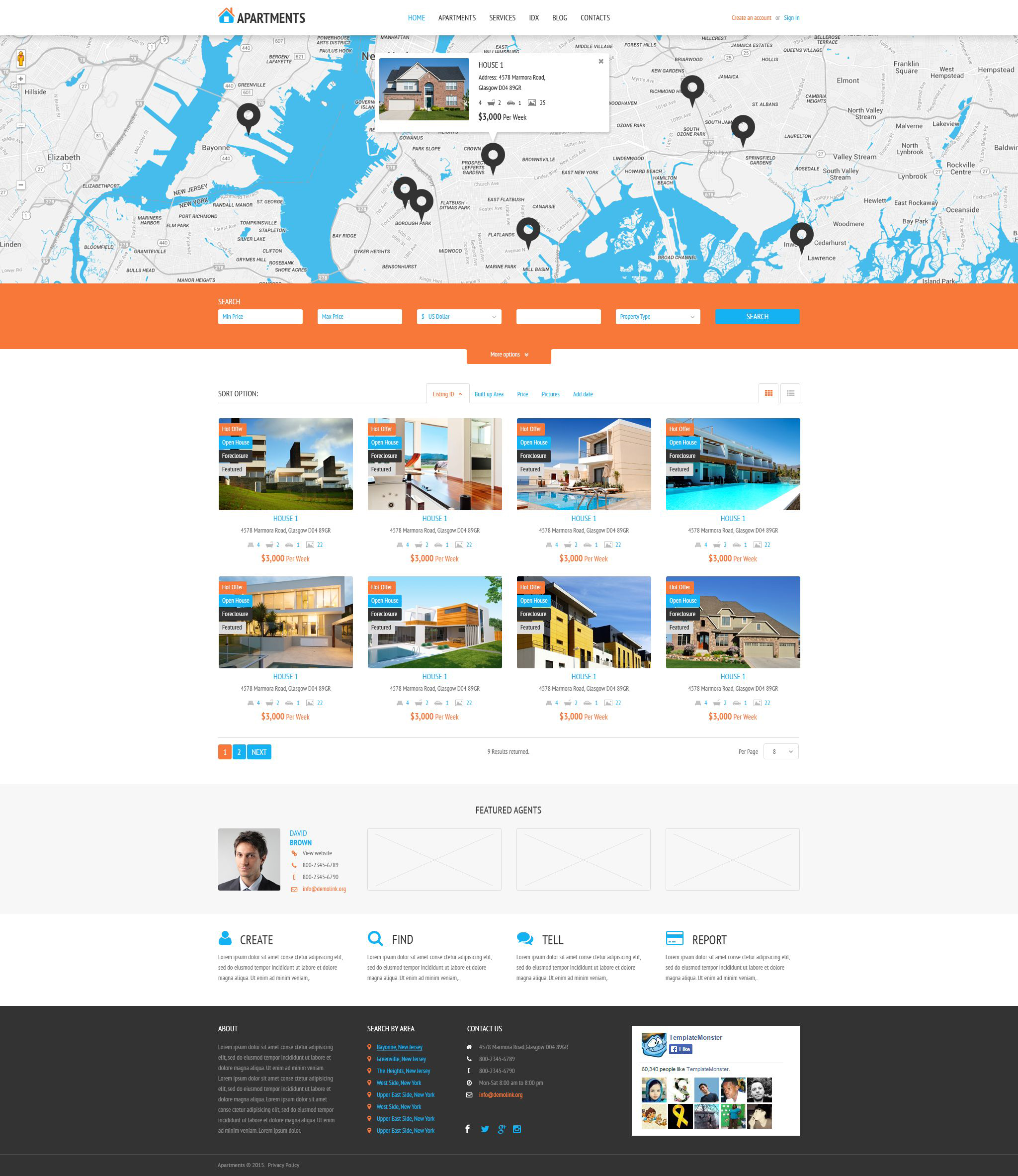 "Template WordPress Responsive #53995 ""Apartments Rent Agency"" - screenshot"