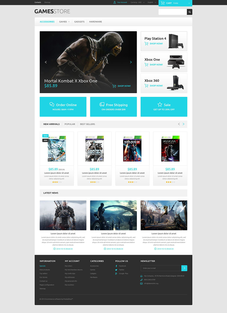 Video Games PrestaShop Theme New Screenshots BIG