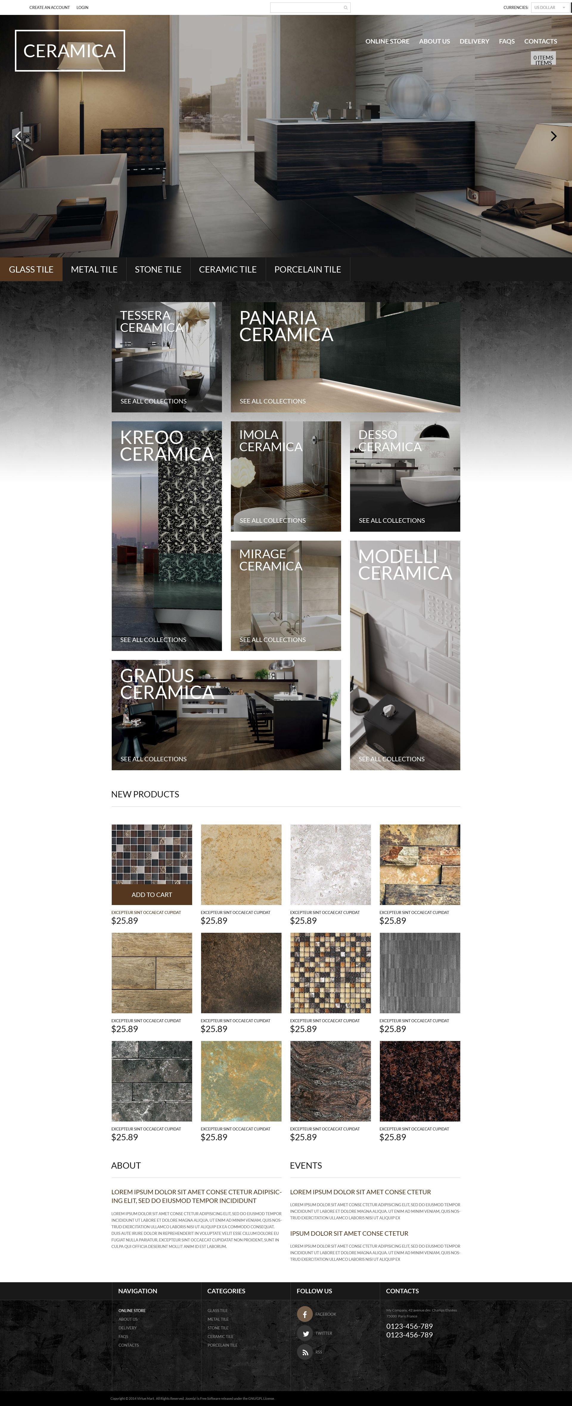 """VirtueMart šablona """"Luxury Ceramics"""" #53948"""