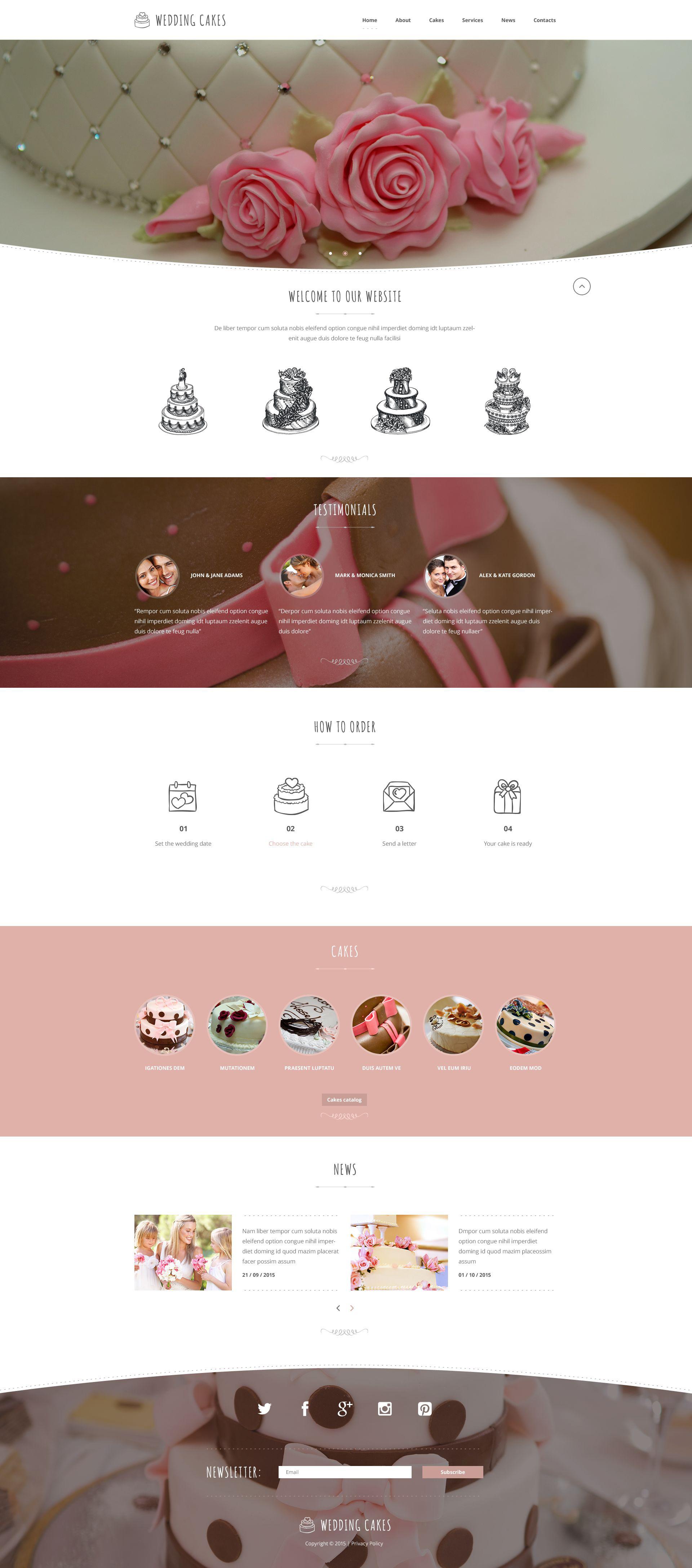 """Wedding Cake Co"" - адаптивний Шаблон сайту №53978 - скріншот"