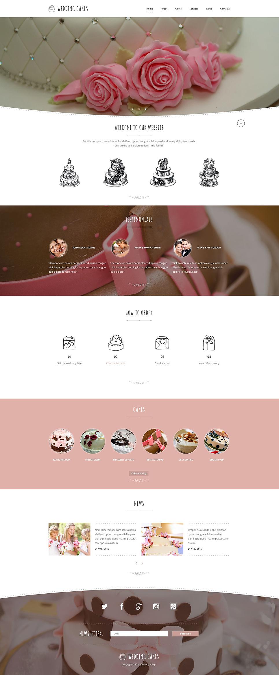Cake Design Web Templates : Wedding Cake Website Template