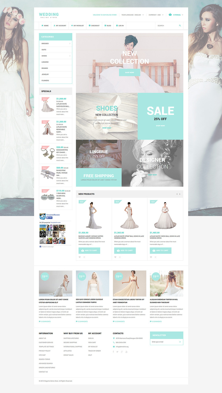 Wedding Style Magento Theme New Screenshots BIG