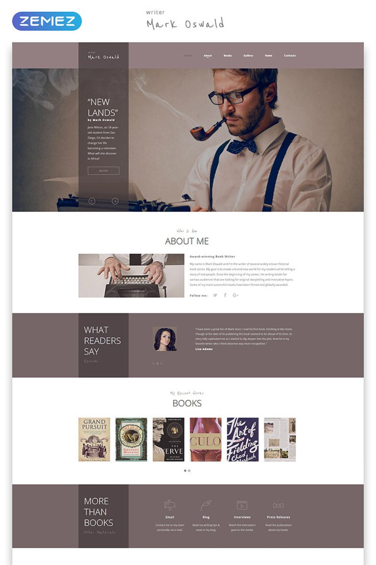 Writer Website Template New Screenshots BIG