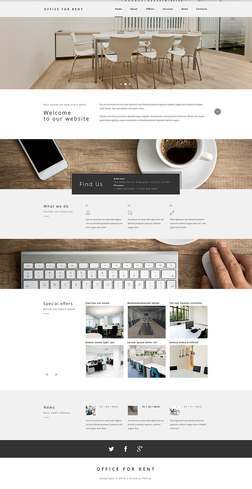 Office for Rent template illustration image