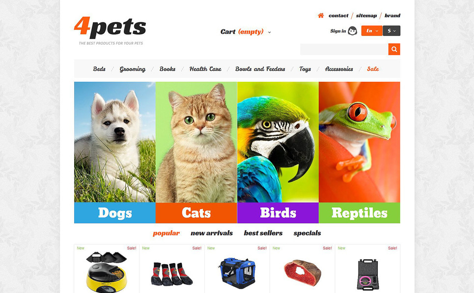Reszponzív Állatkereskedések PrestaShop sablon New Screenshots BIG