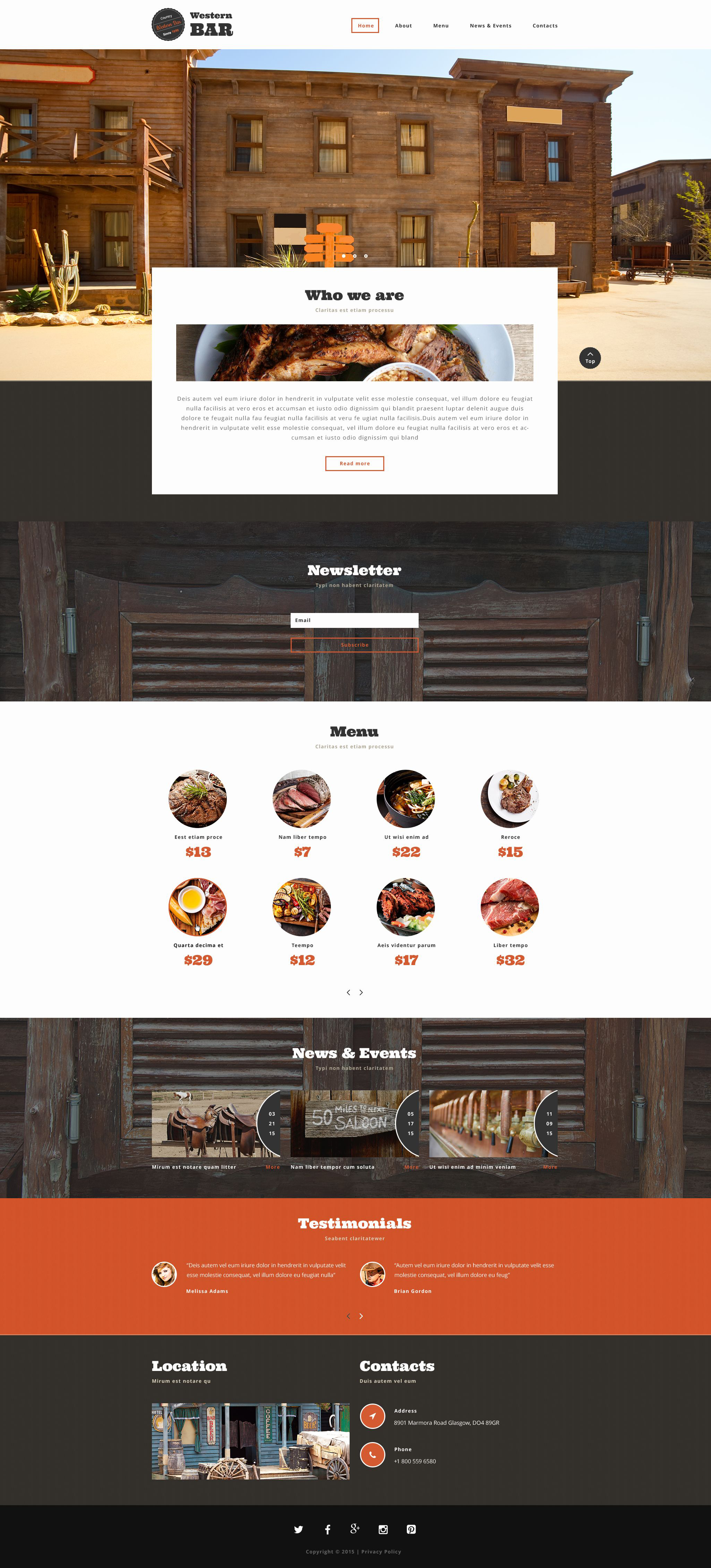 The Western Bar Restaurant Bootstrap Design 54057, one of the best website templates of its kind (cafe and restaurant, most popular), also known as western bar restaurant website template, food website template, meal website template, cuisine website template, drink website template, menu website template, dish website template, wine website template, taste website template, tasty website template, flavor website template, reservation website template, specials website template, recipe website template, launch website template, dinner website template, testimonials website template, offers website template, dietetic website template, kitchen website template, cookbook website template, vegetarian website template, cocktail website template, special cancellation website template, gifts website template, bonuses website template, discount website template, patrons and related with western bar restaurant, food, meal, cuisine, drink, menu, dish, wine, taste, tasty, flavor, reservation, specials, recipe, launch, dinner, testimonials, offers, dietetic, kitchen, cookbook, vegetarian, cocktail, special cancellation, gifts, bonuses, discount, patrons, etc.
