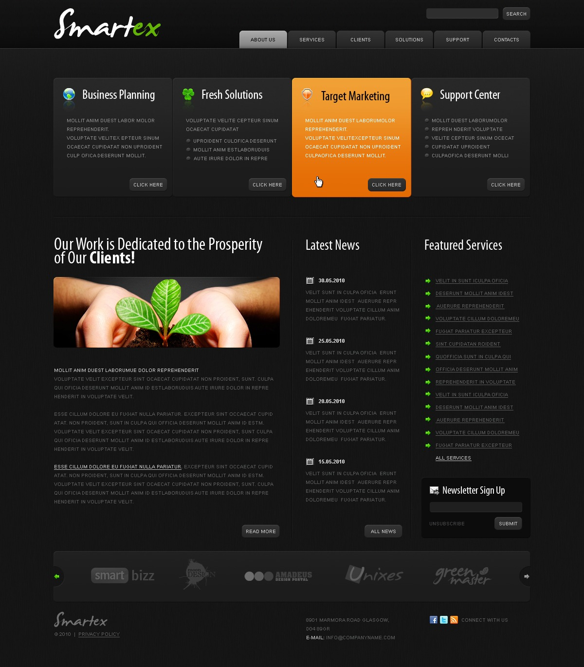 The Smartex Business Company PSD Design 54062, one of the best PSD templates of its kind (business, wide, jquery), also known as smartex business company PSD template, corporate solutions PSD template, innovations PSD template, contacts PSD template, service PSD template, support PSD template, information dealer PSD template, stocks PSD template, team PSD template, success PSD template, money PSD template, marketing PSD template, director PSD template, manager PSD template, analytics PSD template, planning PSD template, limited PSD template, office PSD template, sales and related with smartex business company, corporate solutions, innovations, contacts, service, support, information dealer, stocks, team, success, money, marketing, director, manager, analytics, planning, limited, office, sales, etc.