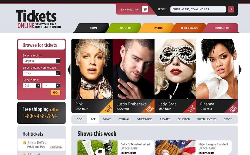 PSD шаблон на тему веб-сайт квитки New Screenshots BIG