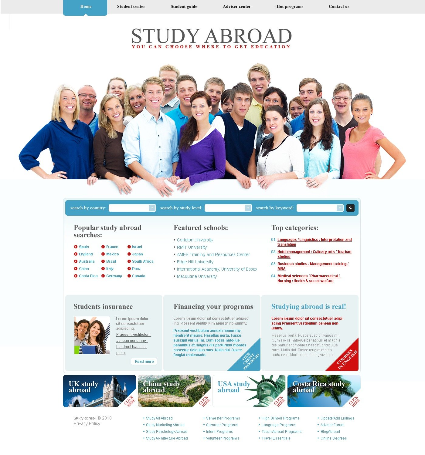 The Study Abroad PSD Design 54076, one of the best PSD templates of its kind (education, flash 8, wide), also known as study abroad PSD template, education center PSD template, college PSD template, science PSD template, admission PSD template, faculty PSD template, department PSD template, class PSD template, alumni PSD template, student PSD template, professor PSD template, enrolment PSD template, union PSD template, library PSD template, auditorium PSD template, graduate PSD template, direction PSD template, tests PSD template, entrance PSD template, examination PSD template, exam PSD template, sport PSD template, community PSD template, party PSD template, administration PSD template, rector PSD template, head PSD template, dean PSD template, college PSD template, s and related with study abroad, education center, college, science, admission, faculty, department, class, alumni, student, professor, enrolment, union, library, auditorium, graduate, direction, tests, entrance, examination, exam, sport, community, party, administration, rector, head, dean, college, s, etc.