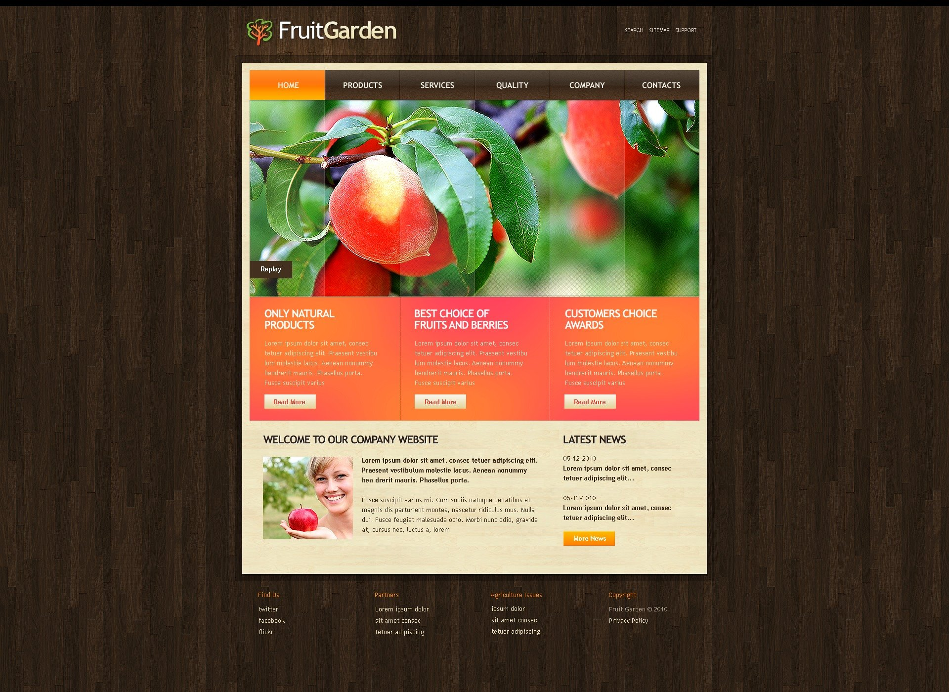 The Fruit Garden PSD Design 54078, one of the best PSD templates of its kind (agriculture, flash 8, wide), also known as fruit garden PSD template, agriculture company PSD template, business PSD template, grain-crops PSD template, cereals PSD template, field PSD template, combine PSD template, harvest PSD template, farming PSD template, plants PSD template, services PSD template, products solutions PSD template, market PSD template, delivery PSD template, resource PSD template, grassland PSD template, equipment PSD template, nitrates PSD template, fertilizer PSD template, clients PSD template, partners PSD template, innovations PSD template, support PSD template, information dealer PSD template, stocks and related with fruit garden, agriculture company, business, grain-crops, cereals, field, combine, harvest, farming, plants, services, products solutions, market, delivery, resource, grassland, equipment, nitrates, fertilizer, clients, partners, innovations, support, information dealer, stocks, etc.